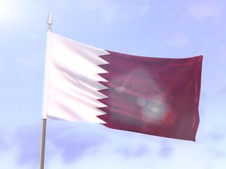 Flag of Qatar with sun flare