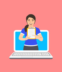 Online fitness trainer concept. Vector flat illustration. Young asian woman gym instructor holds a clipboard with training program. Weight loss plan using computer. Healthy lifestyle support by web