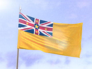 Flag of Niue with sun flare