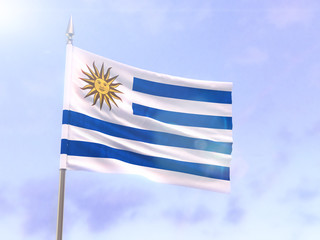 Flag of Uruguay with sun flare