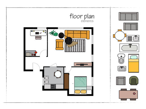 rendered floor plan. vector illustration. home house architectural drawing. interior design.