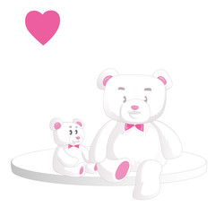 Two cute white teddy bears with heart isolated on white background. Vector illustration.