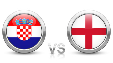 Croatia vs. England. 2018 tournament. Shiny metallic icons buttons with national flags isolated on white background.