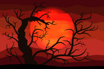 The Bloody Halloween Background with Silhouettes of the Terrible Tree. A Poster in a Flat Style. Raster Illustration