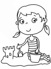 cute illustration  child on the beach