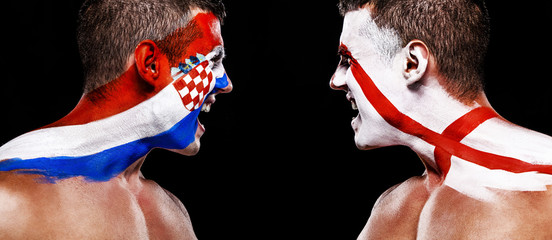 Soccer or football fan athlete with bodyart on face - flags of Croatia vs England. Sport Concept with copyspace.