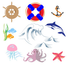 Doodle set of sea objects, wave, octopus, steering wheel, lifeline, fish and Dolphin, starfish, for children's posters, ads, vector illustration maps