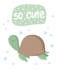 Vector set of cute poster with funny sea animal and text