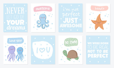 Vector set of cute postcards with funny sea animals. Poster with adorable marine objects on background, pastel colors