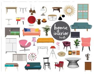 vector interior design elements. furniture mid century modern. living room element collection set.