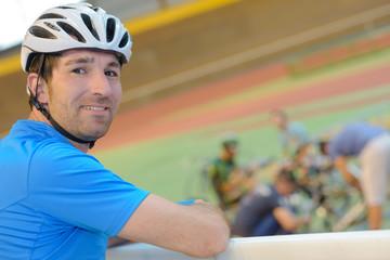 Portrait of man in cycle helmet