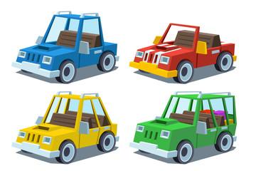 Photo sur Plexiglas Cartoon voitures cartoon car set