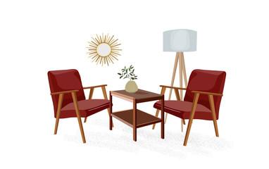 vector interior design illustration. mid century modern living room. home house 1960 1950 furniture. wallpaper armchair tripod lamp. trend trendy designer.