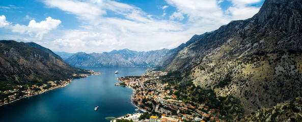 Panoramic View of kotor old town from Lovcen mountain in Kotor, Montenegro. Kotor is part of the unesco world.