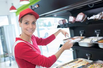 portrait of confident female butcher