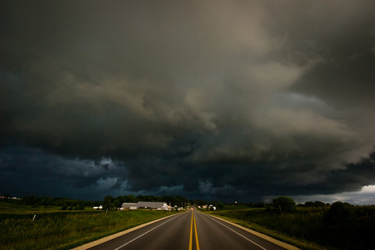 Storm moving in over the highway in Iowa on a summer afternoon