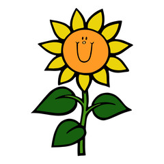 Sunflower cartoon illustration isolated on white background for children color book
