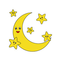Moon cartoon illustration isolated on white background for children color book