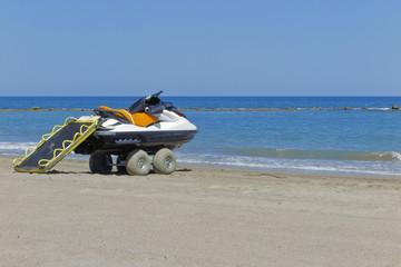 rescue jet ski in the shore of the beach