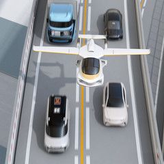 Futuristic flying car flying over the highway. Fast transportation without traffic jam concept. 3D rendering image.