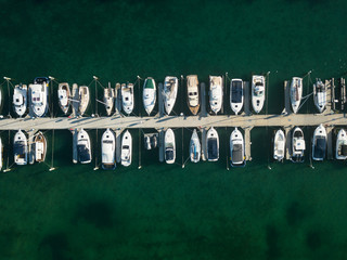 A drone photo of a marina in Blairgowrie, Melbourne, Victoria