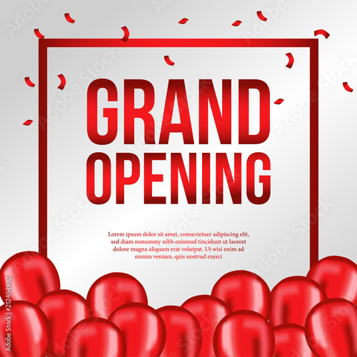 grand opening template with red balloons stock image and royalty