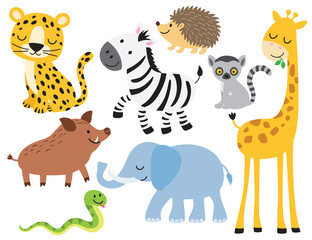 Vector illustration of cute wild animals including leopard, zebra, giraffe, elephant, boar, hedgehog, snake, elephant and lemur.