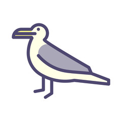 Seagull thin outline stylized icon. Vector illustration of a sea bird.