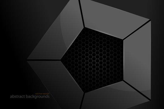 Pentagonal metal shape scene vector abstract wallpaper on a black backgrounds