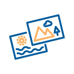 Thumbnail icon. Set of two photos. Thin line icon for missing thumbnail or vacation memories. Vector illustration with photos from nature, mountain and beach.