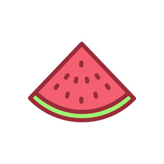 Slice of watermelon icon. Vector filled outline illustration of a fruit
