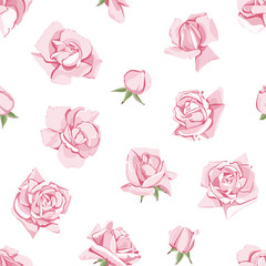 Flowers and buds of roses. Floral seamless pattern on isolated white background.