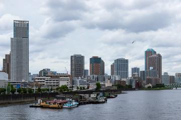 (東京都ー都市風景)豊洲運河から隅田川方面の風景5
