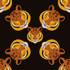 Tiger. Head. Black background. Rotate 45 degrees. Seamless pattern. Cartoon style