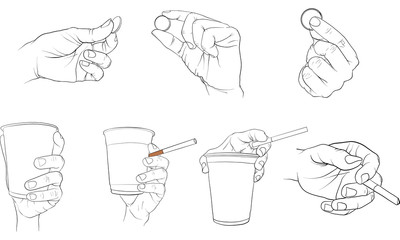 hand holding cup vector