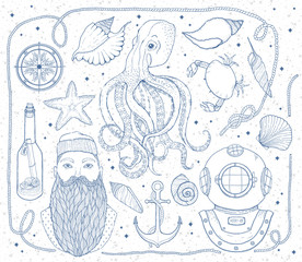 Hand drawn Vintage nautical Set. It consists of octopus, anchor, sailor, bottle with a message, seashells, crab, compass, diving helmet, rope and sea knot.