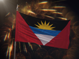 Flag of Antigua and Barbuda with fireworks display in the background