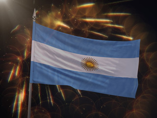 Flag of Argentina with fireworks display in the background