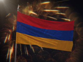 Flag of Armenia with fireworks display in the background