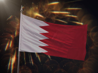 Flag of Bahrain with fireworks display in the background