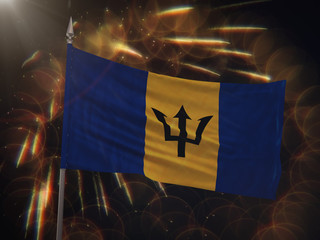 Flag of Barbados with fireworks display in the background