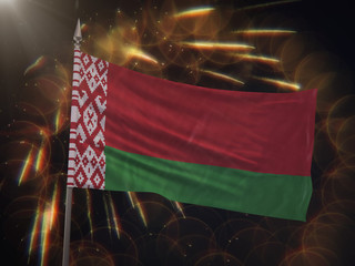 Flag of Belarus with fireworks display in the background