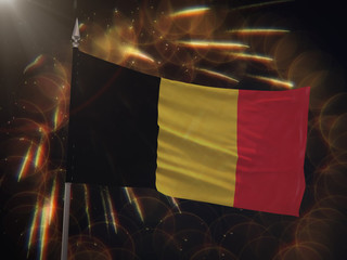 Flag of Belgium with fireworks display in the background