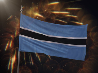 Flag of Botswana with fireworks display in the background