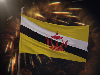 Flag of Brunei with fireworks display in the background