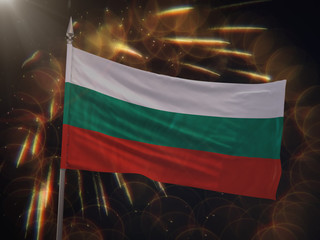 Flag of Bulgaria with fireworks display in the background