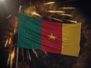 Flag of Cameroon with fireworks display in the background