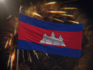 Flag of Cambodia with fireworks display in the background