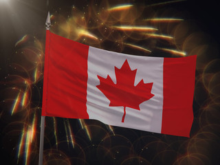 Flag of Canada with fireworks display in the background