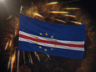 Flag of Cape Verde with fireworks display in the background
